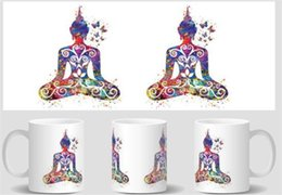 Wholesale Buddha Bone - Wholesale- Buddha and Butterfly Yoga mugs cold hot heat reveal magic transforming coffee mug heat changing color Tea