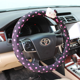 Wholesale Pvc Steering Wheel - Free Shipping New Fashion 1pcs Hello Kitty Bow Car Steering Wheel Cover 38cm Cartoon Car Interior Accessories 3 Colors