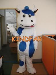 Wholesale New Style Mascot Costumes - Wholesale-New Style Cow Mascot Costume Calf Dairy Cattle Dairy Milch Cow Fancy Dress Cartoon Suit Free Ship