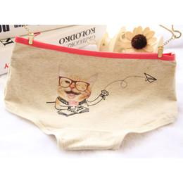 Wholesale Cat Underwear Cotton - Wholesale-Girl Series cat cartoon cute female underwear triangle cotton ladies underwear waist cotton underwear