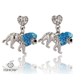 Wholesale Lion Heart - 2017 new design Blue oil drop Lion Zinc Alloy stud earrings with Rhinestones women heart shaped jewelry wholesales