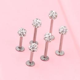 Wholesale Lip Bar Jewellery - Clear Ferido Crystal Shamballa Monroe Lip Stud Labret Bar Tragus Piercing Jewellery 6 8 10mm 3.5mm ball 16g Nose Piercing Body