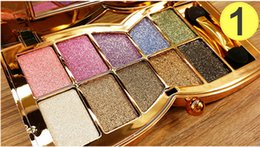 Wholesale Bright Eyes Free - Hot 10 colors Makeup Diamond Bright Colorful Eye Shadow Palette Shining Glitter Eyeshadow With Brush Free Shipping