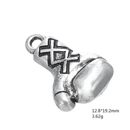 Wholesale Gloves Diy - My Shape Zinc Alloy Antique Silver Plated Boxing Glove Sports DIY Finding Charm for Jewelry Making