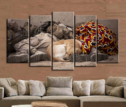 Wholesale Picture Frames Dogs - 5pcs set Tired Soldier and Sleeping Dog Wall Art Oil Painting On Canvas (No Frame) Animal Impressionist Paintings Picture Living Room Decor
