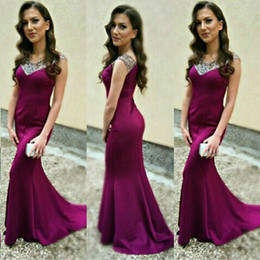 Wholesale Small Pageant Dresses - 2016 Elegant Engagement Dresses Mermaid Formal Evening Prom Party Gowns Crystals Beaded V Neck Purple Pageant Wear with Small Train