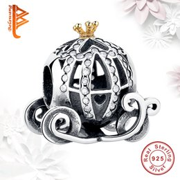 Wholesale Car Charms For Bracelet - BELAWANG For Halloween Gift 925 Sterling Silver Pumpkin Car Charms Big Hole Beads With Clear Cubic Zircon Fit Pandora Charm Bracelet Making