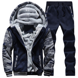 Wholesale Fleece Jogging Pants - Wholesale-winter men sweat suits fleece warm mens tracksuit set casual jogging suits sports suits cool jacket pants and sweatshirt set
