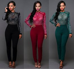 Wholesale Sheer Lace Jumpsuits - 2016 Womens Long sleeved Hot Drilling O Neck Solid Sheer Lace Bodycon Jumpsuit Patchwork Playsuit Plus Size Casual Clubwear Jumpsuit