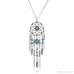 Wholesale Dreamcatcher Jewelry - Dreamcatcher Leaf Wing Charms Necklace Turquoise Beads Tassel Pendant Boho Necklace Ethnic Bohemia Jewelry Statement Long Necklace