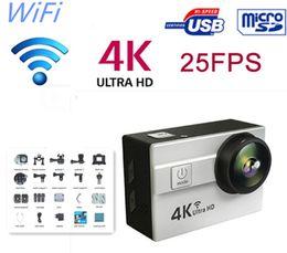 2019 câmeras de espionagem de mini-noite sem fio 2016 Novo Ultra HD 4 K 25fps Esporte Action Camera 2.0 polegadas tela lcd 173 graus Lens À Prova D 'Água 30 m Wifi Câmera Ação