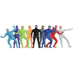 Wholesale Unisex Silver Bodysuit - Wholesale-Open Face Lycra Bodysuit Spandex Unisex Catsuit Skin Tight Halloween Party Zentai Suit Costume S-XXL