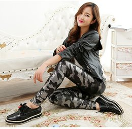 Wholesale Army Leather Leggings - Wholesale- women camouflage immitation leather Pants spring summer snake patten High waist Leggings slim fitted army legging