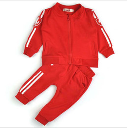 Wholesale Yellow Baby Cardigan - baby girl and boy sport suit kids sets coat and pant 2 pcs set children tracksuits cardigan pure cotton suits 2016 spring autumn.