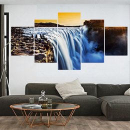 Wholesale Waterfall Art - 5 Piece Modern Waterfall Cuadros Decoracion Pintura Canvas Oil Painting Art Wall Pictures For Living Room Picture No Frame