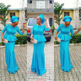 Wholesale peplum mermaid dress for prom - Blue Aso Ebi Style Mermaid Prom Dresses 2017 Half Long Sleeves Peplum Plus Size Evening Gowns For African Women Floor Length Formal Wear