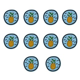 Wholesale Pineapple Clothes - 10PCS bule badge embroidery patches for clothing iron pineapple patch for clothes applique sewing accessories on clothes iron on patches DIY