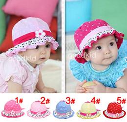 Wholesale Infant Summer Bucket Hats - 10PCS Toddler Baby Boys Girls Sun Hats Children Polka Dot Flower Bucket Cap Kid's Bowknot Hats Infants Photo Props Summer Hair Accessories