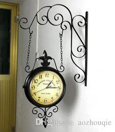 Wholesale Double Wall Clock - Wrought Iron Wall Clock Fashion Nostalgic Vintage Double-Faced Clock Silent Movement Antique Iron Double Faced Clocks
