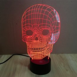 Wholesale Lightsaber Christmas Lights - FREE SHIPPING Touch Sensor colorful 3D Skull Head LED Night Lights of Crossbones USB table lamp for night Lightsaber