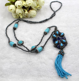 Wholesale Necklace Hematite - wholesale hematite beads turquoise necklace with blue-veins stone pendant tassel