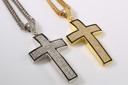 Wholesale Cross Necklace Black Crystals - 2016 New Hip Hop Jewelry gold silver plated full crystal cross pendent necklace religion men jewelry accessories Christianity gifts