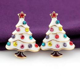 Wholesale Tree Crystal Stud Earrings - 3D Christmas Tree Crystal Stud Earrings Vintage style Lovely Cute earrings simple and sweet 3 color choose xz78