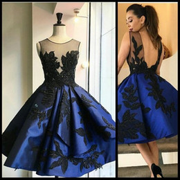Wholesale orange left - Navy Blue Short Prom Dresses With Black Leaves Appliques 2016 Sheer Neck Open Backless Mini Evening Gowns Homecoming Party Dresses