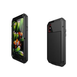 Wholesale Iphone Aluminum Back - For iphone X 7 8 plus case Powerful Shockproof Aluminum Metal Back Cover waterproof Protective Case for iphone 10 with tempered glass