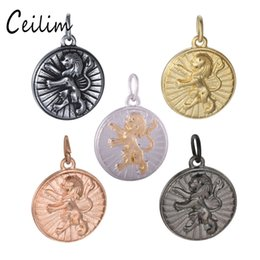 Wholesale Gold Plated Jewelry Making Supplies - About 18MM Gold Color Gun Black Color Lion Metal Charms For Punk Jewelry Making Supplies Fit Stainless Steel Jewelry DIY Round Pendant