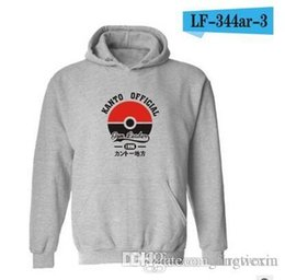 Wholesale Japanese Mens Hoodies - New Autumn Japanese Hoodies Poke Sweatshirts Pullover Mens Fashion Pikachu Jacket Poke Ball Coat Casual Pocket Monster Outwear