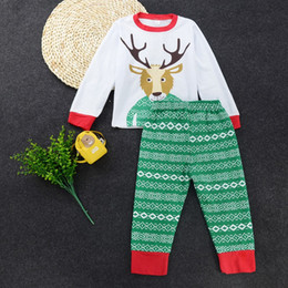 Wholesale Suit Pajamas Girl - Christmas Pajamas Baby David's Deer Outfit Kids Clothing Set Children Boutique Boy Girl Clothes Suit Sport Tracksuit Fall Autumn Reindeer Co