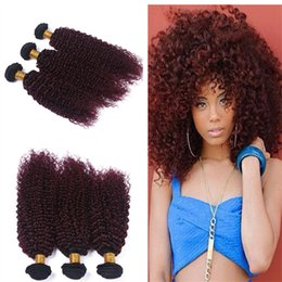 Wholesale Red Two Tone Hair Weaves - 8A Human Hair 1B Burgundy Brazilian Ombre Kinky Curly Hair Weave 3Pcs Two Tone Red Wine Curly Brazilian Curly Hair