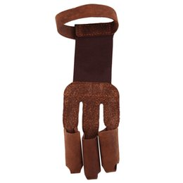 Wholesale Leather Gloves Bows - Archery Protect Glove 3 Fingers Pull Bow arrow Leather Shooting Gloves free shipping
