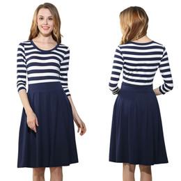 Discount Business Skirt Length 2017 Women Formal Full Skirted Dress Blue Whiteed Scoop