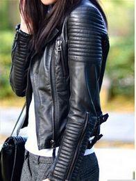 Wholesale Ladies Leather Motorcycle Jacket Xl - Wholesale-Leather Jacket Women jaqueta de couro feminina motorcycle ladies leather jacket women coat suede coat PU jacket coat