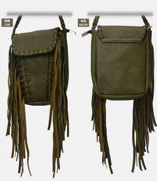Wholesale Korean Boho - New 2016 Summer Boho style suede leather mini tassel bag fringe shoulder bags small crossbody bags for women fashion Free shipping