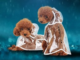 Wholesale Cloak Raincoat - Fashion Rainsuit Puppy Cloak Pet Raincoat Transparent Dog Clothes Waterproof Pet Supplies Random Color Size XS S M L XL
