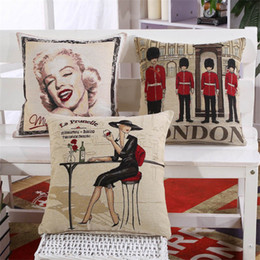 "Wholesale Cover Pillow Marilyn - 18*18"" Marilyn Monroe Sexy Lady Gards Embroidery Cotton Linen Pillow Cushion Case Cover 6 Style Home Car Decor Free Shipping"