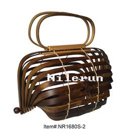 Wholesale Dark Brown Hobo Handbags - Unique careative luxury brand designer dark coffee color carbonized bamboo cage barrel basket handbag bamboo purse