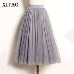 Wholesale Skirt Woman Fashion Korea - [XITAO] Korea 2017 Summer New Arrival Fashion Casual Women Solid Color Ball Gown Skirt Female Mid-Calf Loose Skirt CXB085