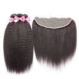 Wholesale Full Pics - 8A Mongolian kinky straight lace frontal closure with bundles 100% virgin human hair italian coarse yaki with full lace frontal 4 pics lot