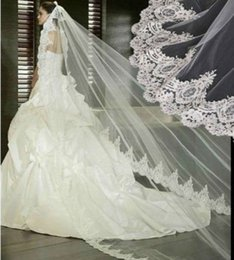 Wholesale 1t Lace Wedding Cathedral Veil - New 1 Layer White Ivory 1T Lace Edge Bridal Veil Cathedral Long Bridal Wedding Veil Wedding Accessories