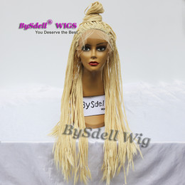 Wholesale Pink Blonde Hair - New Stylish Synthetic Blonde Color Braided Lace Front Wig Box Braiding Hair Top Quality Braid Lace Front Wigs for Black Women