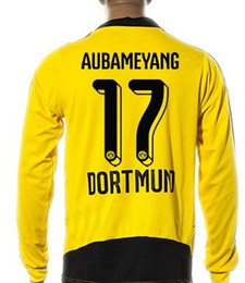 Wholesale Green Personality - Customized personality number 15-16 Thai Quality Long Sleeve Soccer Jersey,M.GÖTZE 10 17 Aubameyang KAGAWA 23 PULISIC 22 REUS 11 soccer wear