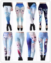 Wholesale Sexy Korean Leggings - Sexy Fashion Womens Korean style Blended fabrics Digital Printing Frozen Workout Leggings Yoga Gym Fitness Running feet pants 10
