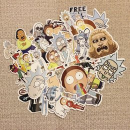 Wholesale Decal Words - 35Pcs Drama Rick And Morty Stickers Decal For Snowboard Laptop Luggage Car Fridg
