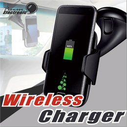 Wholesale Car Holder For Blackberry - Qi wireless Car Charger Fast Charger Stand Car Phone Mount Holder For Samsung Note8 S7 S6 Edge Plus Iphone X 8 Plus Other Phone With Package