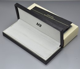 Wholesale Leather Pen Boxes - High Quality Black wood leather Pen Box Suit For mb Fountain Pen   Ballpoint Pen   Roller Ball Pens Pencil Case with The Warranty Manual