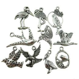 Wholesale Mixed Birds Pendant - MIX Vintage Silver Animal Swan Magpie Eagle Bird Hummingbird Pelican Pendant